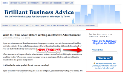 Brilliant Business Advice E-Mail Sign Up Form